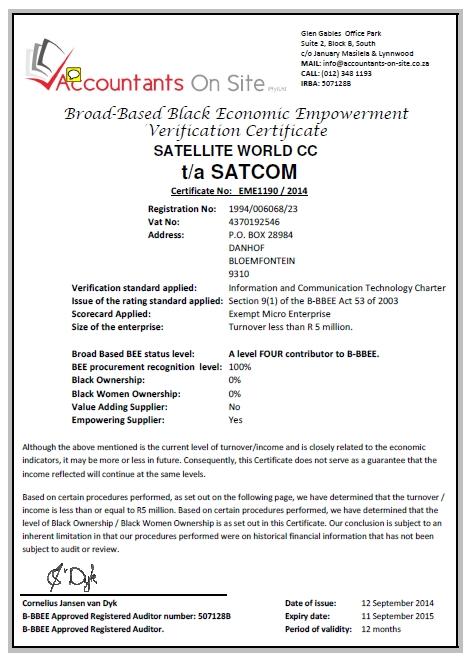 Satcom B-BBEE Certificate